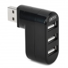 Unitek Y-2031 Compact Handy 180' Rotating USB Male to 3 Female HUB for PC / Laptop - Black