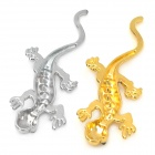 DIY 3D Stainless Steel Plating Crystal Gecko Car Decoration Sticker - Golden + Silver