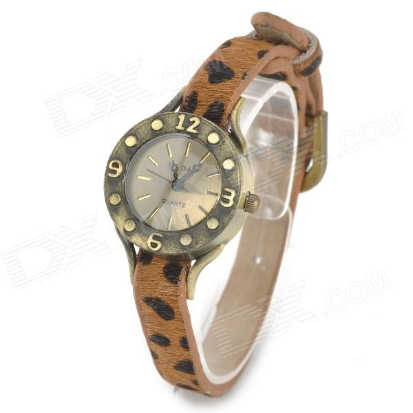 Fashion Leopard Print Horsehide Band Analog Quartz Wrist Watch for Women - Brown + Black split leather band analog quartz watch handwork retro style bracelet for women 1 x ag4