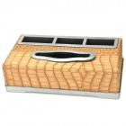 Snakeskin Pattern Plastic Tissue Box - Light Yellow
