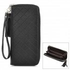 Stylish Woman's Diamond Grid PU Leather Handbag Purse - Black
