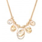 Woman's Stylish Shiny Oval Shaped Crystal Pendants Gold-plated Necklace - Golden