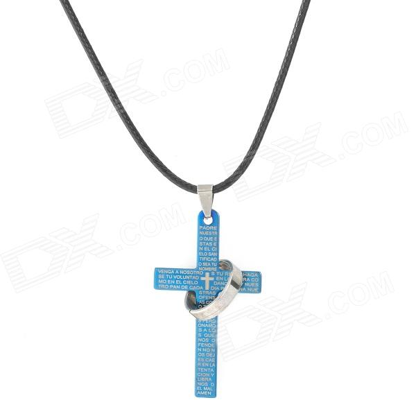 Stylish Titanium Steel Christian Cross Pendant Necklace - Blue + Black black smooth steampunk pocket watch stainless steel pendant 30cm chain with box p200c w