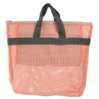 Handy Nylon + Oxford Fabric Mesh Toiletry Hand Bag for Travel - Peachpink + Gray