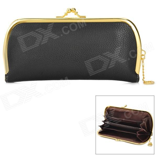 SNB-001 Fashionable Retro Woman's PU Leather Handbag Purse - Black