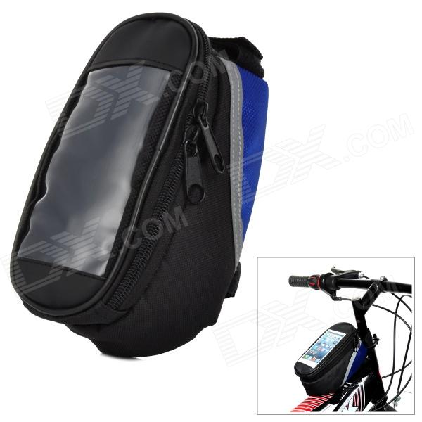 Bicycle Front Tube Oxford Bag - Black + Blue b soul ya162 bike bicycle top tube double bag w touch screen phone pouch case black blue