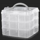 00005 Convenient 3-deck Detachable PP Storage Organizer Box - Translucent White