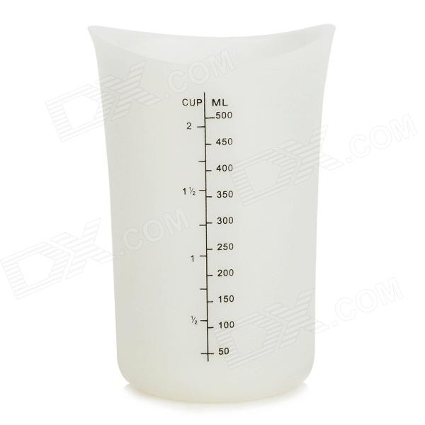500ML Heat Resistant Baking Soft Silicone Measuring Cup - Translucent White