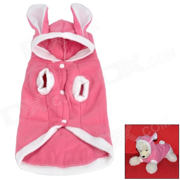 Cute Rabbit Style Short Plush Pet Dog / Cat Coat - Pink + White (L)