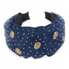 Rivit Skull Style Nubuck Cloth Wide Headband Hair Band - Blue + Silver + Bronze
