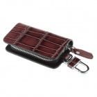 Bamboo Texture PU Leather Zipper Car Key Holder Case Bag - Reddish Brown