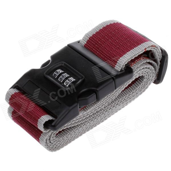 Luggage Belt Strap w/ Number Lock Travel Needed - Black + Red + Grey (2m)
