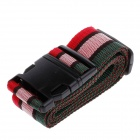 Luggage Belt Strap w/ Quick Release Buckle / ID Tag - Black + Red + White + Green (2m)