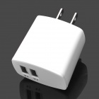 IPEGTOP AC 100~240V US Plug Power Adapter Charger w/ Dual USB - White (1A / 2A)
