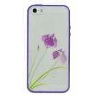 Colorfilm 3D Orchid Pattern Painting Emboss Protective Plastic Back Case for Iphone 5 - Multicolored