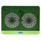 "Shunzhan USB 2.0 Cooling Pad 2-Fan Cooler for 14"" Notebook Laptop - Green + Black"