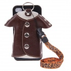 Plastic Back Case + PU Leather Jacket Accessory w/ Strap for Iphone 4 / 4S - Black + Brown + Orange
