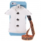 Plastic Back Case + PU Leather Jacket Accessory w/ Strap for Iphone 5- White + Blue + Black + Orange