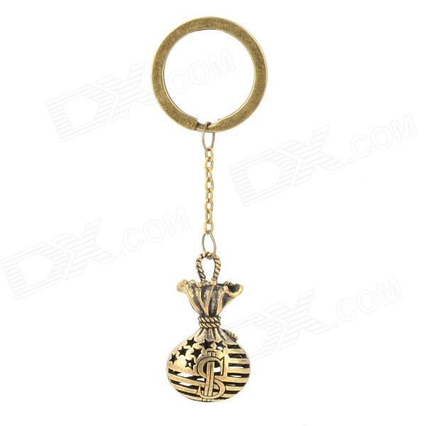 Retro US Dollar Money Bag Style Zinc Alloy Key Ring - Bronze