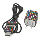 Rhinestone US Plug Power Adapter + Data Charging Cable Set for iPhone 4 / 4S - Black