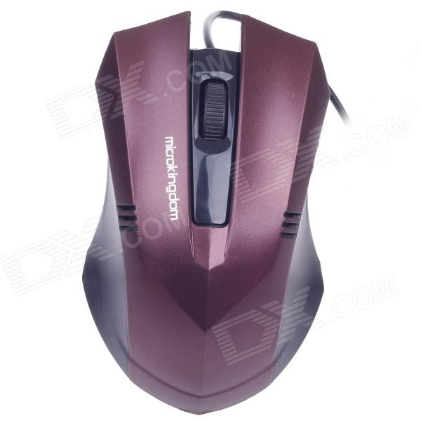 Microkingdom M-22 Vogue USB Wired 1200dpi Optical Gaming Mouse - Wine Red + Black (125cm-Cable)