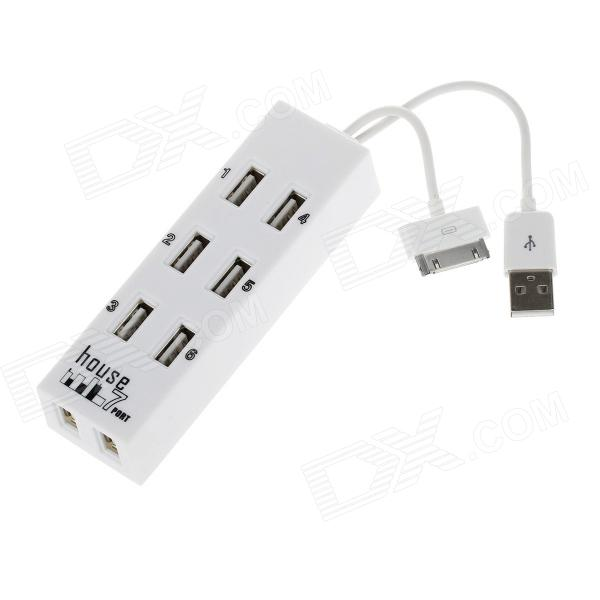 Compact High Speed 480Mbps Support 500GB 8 Ports USB 2.0 HUB - White best price new 3 ports usb hub mini 480 mbps high speed usb 2 0 hub adapter splitter hub for notebook pc smartphone 2 63