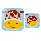 Cute Giraffe Head Style Baby Dinner Plate Tray + Bowl Set - Pink + Brown + Yellow + White (2 PCS)
