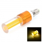E14 1W 90lm 6500K LED White Light Cylindrical Crystal Style Lamp - Golden (85~260V)