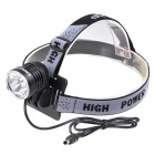 COFLY KX-H3 1800lm 3-Mode White Bicycle Light w/ 3 x Cree XM-L T6 - Black (4 x 18650)