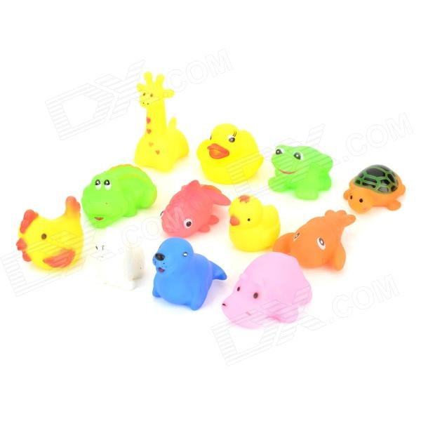 8004 12-in-1 Kid's Bathing Non-Toxic Vinyl Squeaky Toys Set - Multicolored