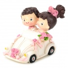 9694 Wedding Couple in the Car Style Resin Display Model Toy - White + Pink