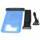 WP-08 Waterproof Pouch Case for Iphone 4 / 4S / 5 - Translucent Blue + Black