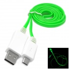 USB to Micro USB Data / Charging Cable w/ Green Light for Samsung / HTC / BlackBerry - Green + White