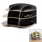 8998 Creative 9-Case MDF Desktop Stationery Storage Stand Holder - Black