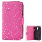 Stylish Maple Leaf Pattern Crystal Inlaid Flip-open PU Leather Case w/ Card Slot for Samsung i9295