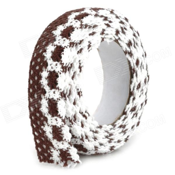 DIY Cotton Lace Self Adhesive Tape for Decoration - Coffee + White