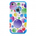 Stylish Bubble Pattern Protective Silicone + ABS Back Case + Front Frame Case for Iphone 4 / 4S