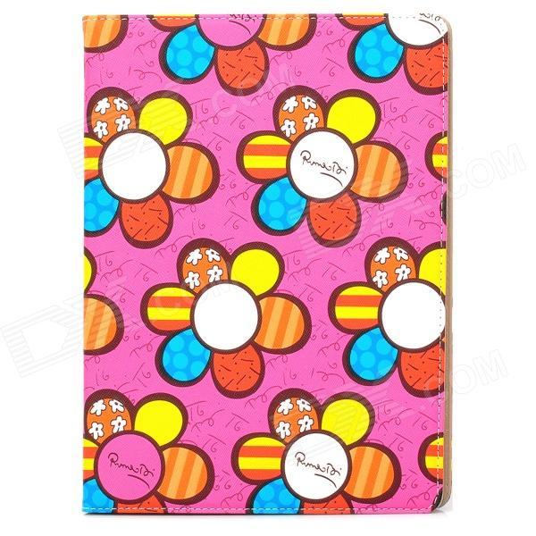 Protective Cute Sun Flower Pattern PU Leather Case for Ipad 3 / 4 - Mulitcolored ipad 4 in 1 photo lens