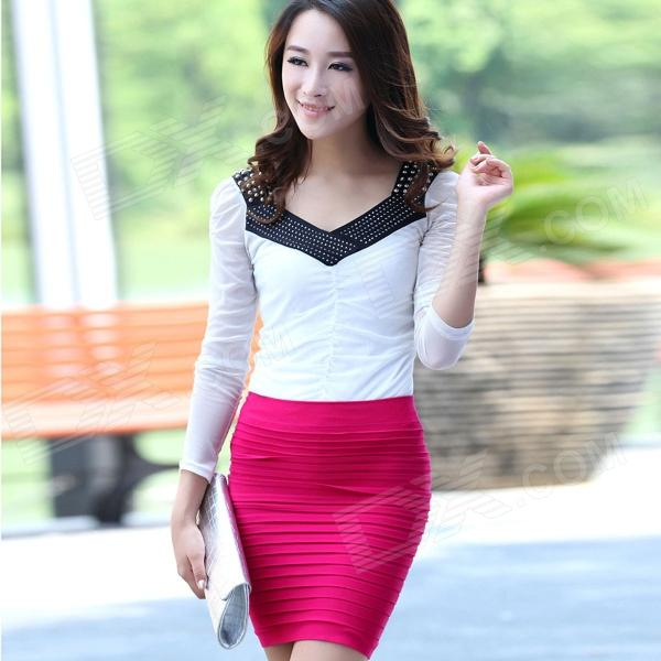LC71029-4 Fashionable Women's Thick Fold Tight-Fitting Skirt - Deep Pink (Free Size)