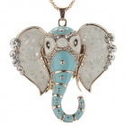 Fashionable Cute Elephant Pendant Women's Zinc Alloy Necklace - White + Blue + Golden