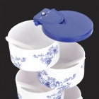 F6478 Creative Vertical Five-layer Rotatable Kitchen Seasoning Box w/ Spoons - White + Blue