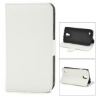 Stylish Flip-open Litchi Pattern PU Leather Case w/ Holder for Samsung i9295 - White