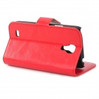 Stylish Flip-open PU Leather Case w/ Holder + Card Slot for Samsung S4 Mini i9190 - Red