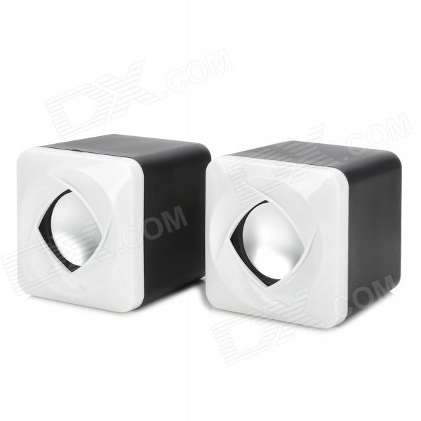 SENICC SN-430i Fashion Petals Style USB 3W MP3 Music Dual-Speaker for Laptop - Black + White mymei best price new portable 3 5mm pillow speaker for mp3 mp4 cd ipod phone white