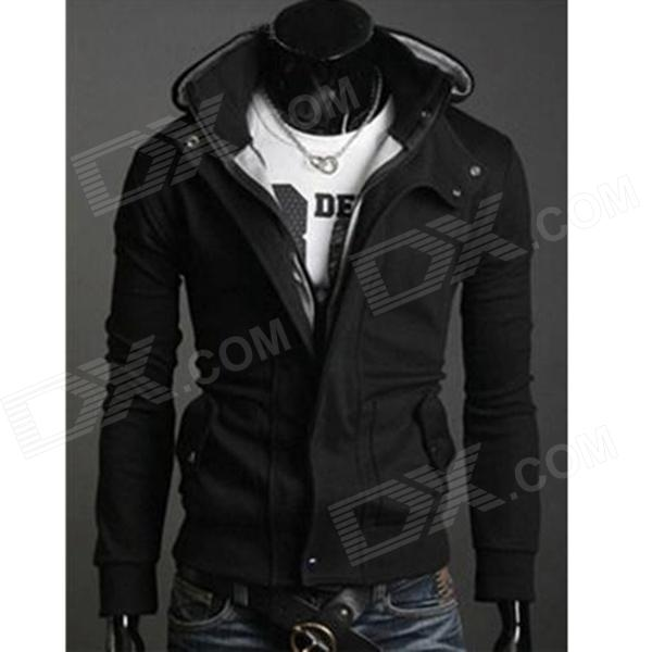 Fashion Men's Slim Fit Outwear Coat w/ Cap - Black + Grey (Size-L)