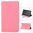 Protective PU Leather + Plastic Case w/ Card Holder Slots for Google Nexus 7 II - Pink