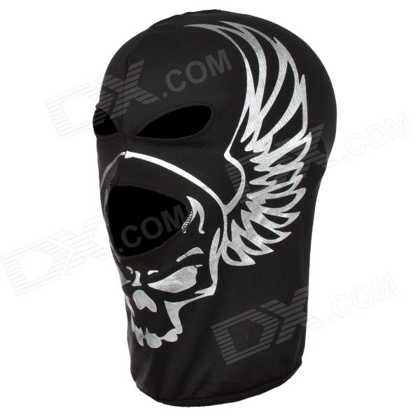 SW2002 Multifunction Skull Style Breathable Polartec Face Mask - Black + Silver airsoft adults cs field game skeleton warrior skull paintball mask