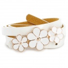 Woman's Fashionable Elegant Flower Buckle Artificial Leather Belt - White + Golden