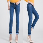 2209 Fashionable Trend Sexy Women's Flower Leg Opening Jeans - Blue (Size: 30)