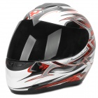 YOHE YH-993-M Thunder Pattern ABS Motorcycle Helmet - White + Red + Black (M)